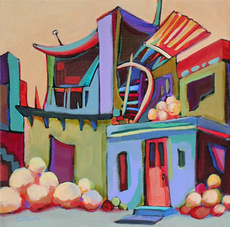 abstracted building painting by Carolee Clark