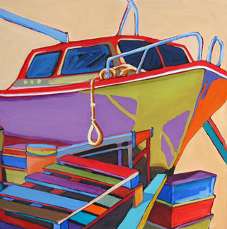expressionistic abstracted boat painting by Carolee Clark