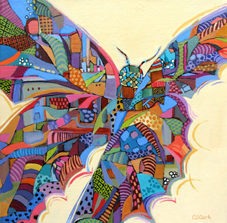 contemporary butterfly painting by Carolee Clark