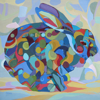 abstracted rabbit painting by Carolee Clark