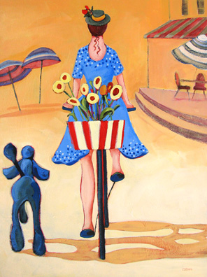 contemporary painting of a woman on her bicycle with a dog by Carolee Clark