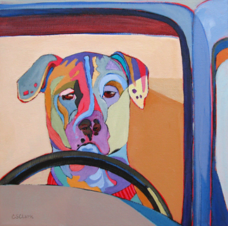 painting of a dog driving a car by Carolee Clark