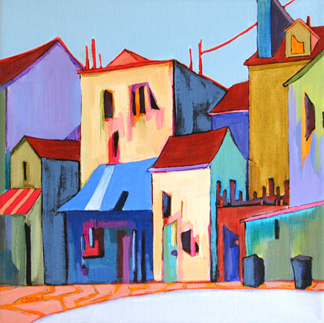 contemporary urban scene painting by Carolee Clark