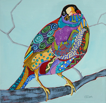 contemporary expressionistic bird painting by Carolee Clark