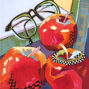 contemporary still life painting of apples by Carolee Clark