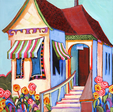 contemporary urban scene painting of a house by Carolee Clark