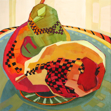 contemporary still life painting of pears by Carolee Clark