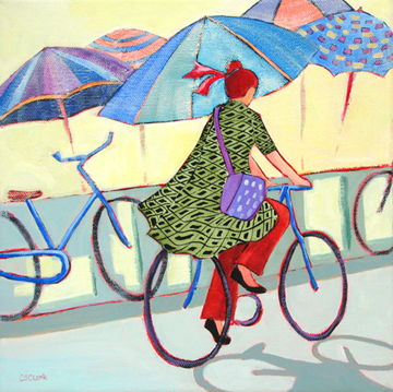 contemporary painting of a woman on a bike by Carolee Clark