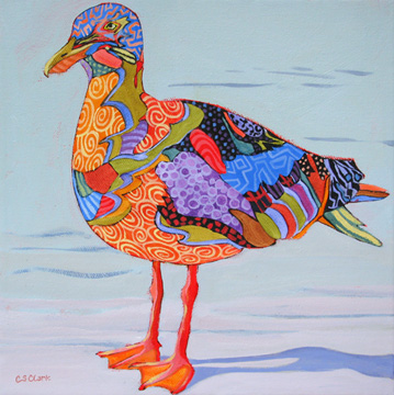 contemporary abstracted bird painting by Carolee Clark