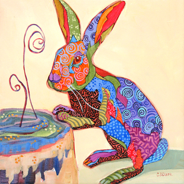 expressionistic rabbit painting by Carolee Clark