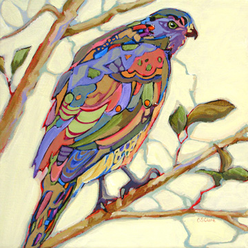 expressionistic contemporary bird painting by Carolee Clark