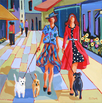 contemporary figure painting of two women in an urban setting