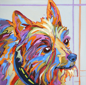 contemporary dog portrait painting by Carolee Clark