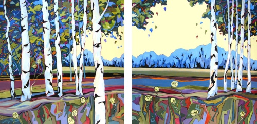 diptych painting of birch trees by Carolee Clark