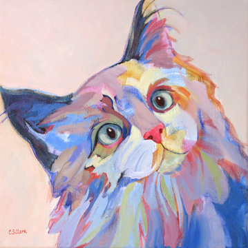 contemporary cat painting by Carolee Clark