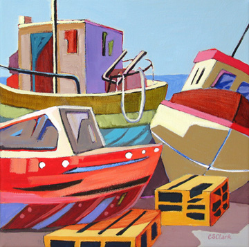 contemporary boat painting by Carolee Clark