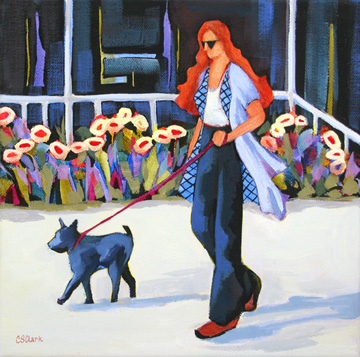 contemporary figure painting of woman with dog by Carolee Clark